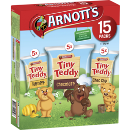 Photo of Arnotts Tiny Teddy Honey, Chocolate And Choc Chip 15 Packs 375g