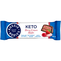 Photo of Aussie Bodies Berry Cream Wafer Keto Bar 35g