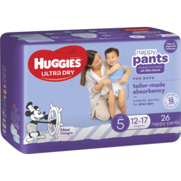 Photo of Huggies Ultra Dry Nappy Pants Boys Size 5 (12-17kg) 26 Pack (Convenience)