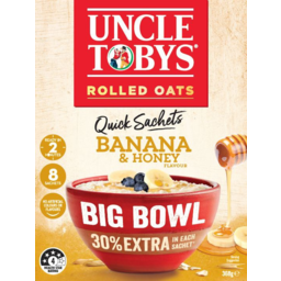 Photo of Uncle Tobys Oats Banana & Honey Flavour Big Bowl Quick Sachets 8 Pack 368g