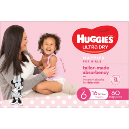 Photo of Huggies Ultra Dry Nappies For Girls 16kg & Over Size 6 60 Pack