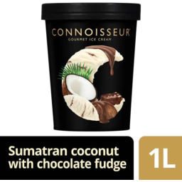 Photo of Connoisseur Gourmet Ice Cream Sumatran Coconut With Chocolate Fudge Sauce 1lt