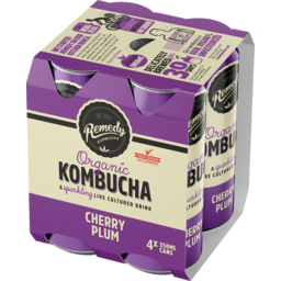 Photo of Remedy Organic Kombucha Cherry Plum 4 Pack X 250ml 250ml