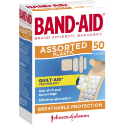 Photo of Band-Aid Brand Plastic Strips Assorted Shapes 50 Pack