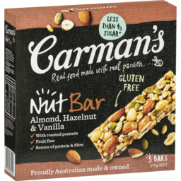 Photo of Carman's Almond, Hazelnut & Vanilla Nut Bars 175g