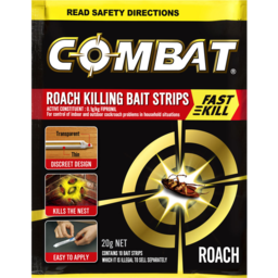 Photo of Combat Roach Bait Strips With Fast Kill Action, Insecticides, 20g, 10 Pack