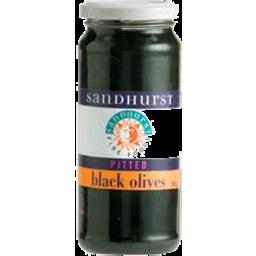 Photo of Sandhurst Pitted Black Olives Jar 350g