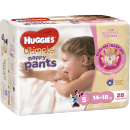 Photo of Huggies Ultimate Nappy Pants, Girls, Size 5 Walker (14 - 18kg), 28 Nappy Pants