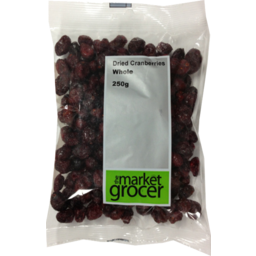 Photo of The Market Grocer Whole Dried Cranberries 250gm