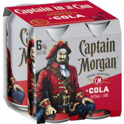 Photo of Captain Morgan & Dry 6% Can 375ml 4 Pack