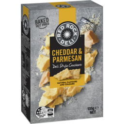 Photo of Red Rock Deli Cheddar & Parmesan Deli Style Crackers 135gm