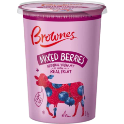 Photo of Brownes Natural Yoghurt With Mixed Berries 1kg