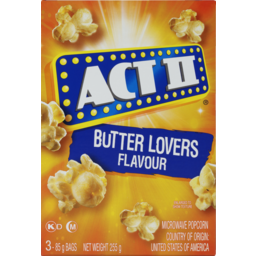 Photo of Act Ii Microwave Popcorn Butter Lovers 3pk 255g