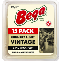 Photo of Bega Country Light 25% Less Fat Vintage Slices 15pk 250g
