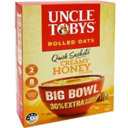 Photo of Uncle Toby's Oat Quick Big Bowl Cream Honey 8pk
