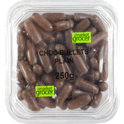 Photo of The Market Grocer Plain Chocolate Bullets Tub 250gm