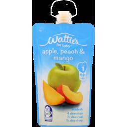 Photo of Wattie's Stage 1 Baby Food Pouch Apple Peach & Mango 4+ Months 120g