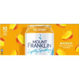 Photo of Mount Franklin No Sugar Lightly Sparkling Mango Hint Of Natural Flavour Water Cans 10x375ml