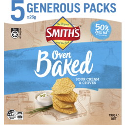 Photo of Smiths Sour Cream & Chives Oven Baked Chips 5 Pack 130g