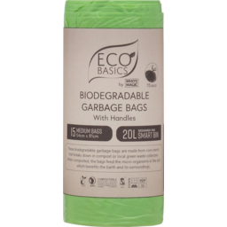 Photo of Eco Basics Medium Biodegradable Garbage Bags With Handles 20l 15 Pack