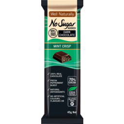 Photo of Well Naturally Nsa Dark Chocolate Mint Crisp 45g 45g