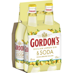 Photo of Gordons Sicilian Lemon & Soda Bottles