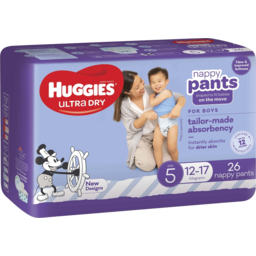 Photo of Huggies Ultra Dry Nappy Pants Boy Size 5 (12-17kg) 26 Pack