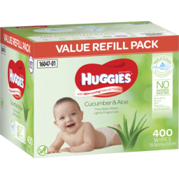 Photo of Huggies Thick & Soft Baby Wipes Cucumber & Aloe 400 Pack