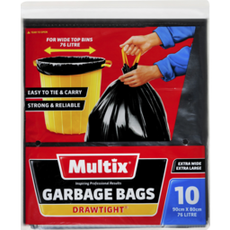 Photo of Multix Extra Large & Extra Wide Drawtight Garbage Bags 10 Pack