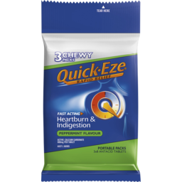 Photo of Quick Eze Rapid Relief Heartburn & Indigestion Peppermint Flavour Antacid Tablets 3 X 8pk
