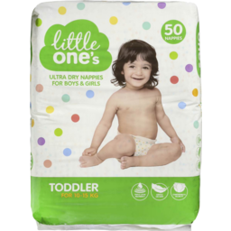 Photo of Little Ones Ultra Dry Nappies Toddler Boys & Girls 10-15Kg Size 4 50 Pack