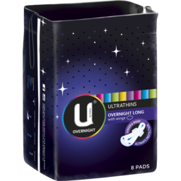Photo of U By Kotex Overnight Ultrathins Long, 8 Pads