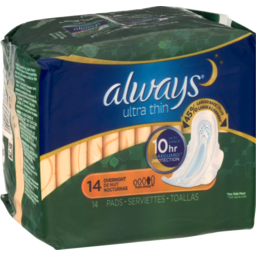 Photo of Always Ultra Thin Overnight With Wings, Unscented Pads 14 Count