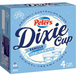 Photo of Peters Dixie Cup Vanilla 4x380ml