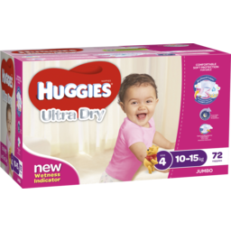 Photo of Huggies Ultra Dry Nappies, Girls, Size 4 Toddler (10 - 15kg), 72 Nappies