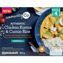 Photo of Community Co. Authentic Chicken Korma & Cumin Rice 350g