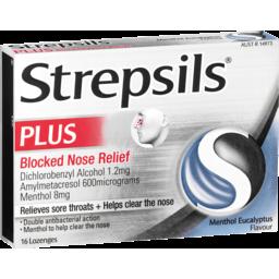 Photo of Strepsils Plus Blocked Nose Relief Menthol Eucalyptus 16 Pack
