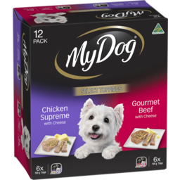 Photo of My Dog Wet Dog Food Chicken Supreme With Cheese, Gourmet Beef With Cheese Select Toppings 12x100g Trays