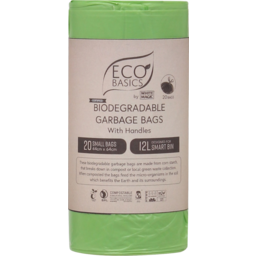 Photo of Eco Basics Small Biodegradable Garbage Bags With Handles 12l 20 Pack
