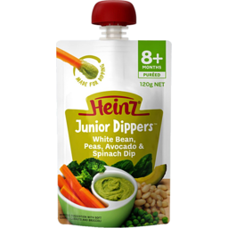 Photo of Heinz Junior Dippers White Bean, Pea, Avocado & Spinach Dip 8m 120gm