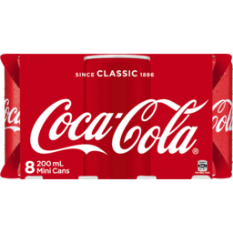 Photo of Coca-Cola Tm Coca-Cola Classic Soft Drink Mini Cans 8x200ml
