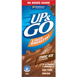Photo of Sanitarium Up & Go No Added Sugar Chocolate Ice Flavour Liquid Breakfast 350ml