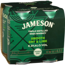 Photo of Jameson Irish Whiskey Smooth Dry & Lime 6.3% Can