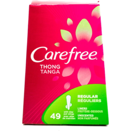 Photo of Carefree Thong Light Protection Unscented With Wings Pantiliners - 49 Ct