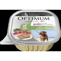 Photo of Optimum Grain Free Wet Dog Food Lamb & Green Beans 85g Tray