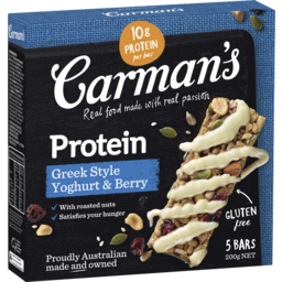 Photo of Carmans Gourmet Protein Bars Greek Style Yoghurt & Berry (5x200g)