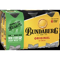 Photo of Bundaberg Rum & Cola Can 375ml 6 Pack