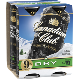 Photo of Canadian Club & Dry Premium Strength 9% 250ml Can 4 Pack