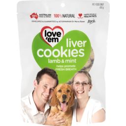 Photo of Love'em Liver Cookies With Lamb Liver & Mint Dog Treats 450g