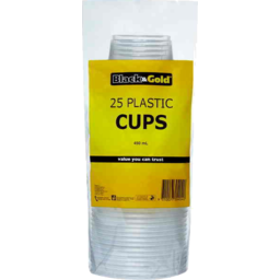 Photo of Black & Gold Plastic Cups 450ml 25pk